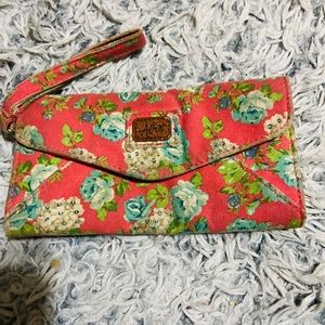 🦋 NEW Peachy Floral Wallet with Beautiful Green